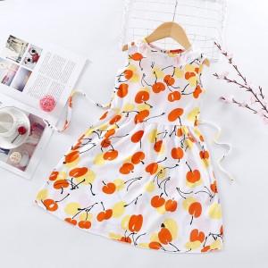 High Quality Fancy Clothing Beautiful Girls Dress - Orange