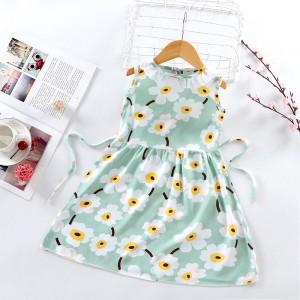High Quality Fancy Clothing Beautiful Girls Dress - Green White