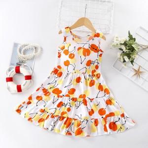Fruit Printed Kids Fashion Sleeveless Dress - Orange