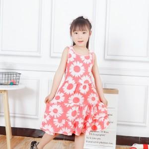 Fashion Boutique Sleeveless Kids Casual Dress - White Pink