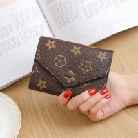 Floral Printed Button Closure Envelope Wallet - Coffee