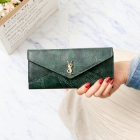 Synthetic Leather Button Closure Envelope Style Wallet - Green