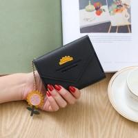 Synthetic Leather Zipper Cute Envelope Style Wallet - Black
