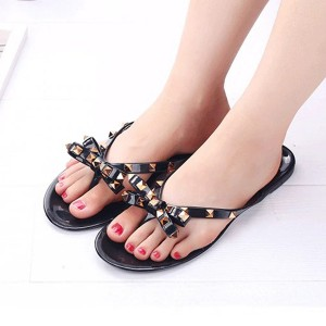 Bow Patched Flat Wear Slippers - Black