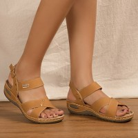 Buckle Closure Cross Strap Casual Wear Sandals - Brown