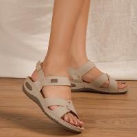 Buckle Closure Cross Strap Casual Wear Sandals - White