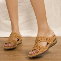 Hollow Thick Sole Slip Over Casual Slippers - Brown