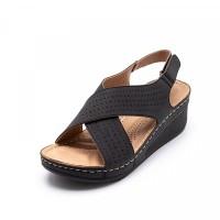 Hollow Cross Strap Velcro Closure Thick Sole Sandals - Black