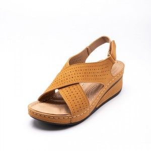 Hollow Cross Strap Velcro Closure Thick Sole Sandals - Yellow