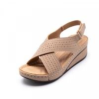 Hollow Cross Strap Velcro Closure Thick Sole Sandals - Khaki