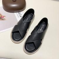 Cross Strap Stynthetic Leather Slip Over Sandals - Black