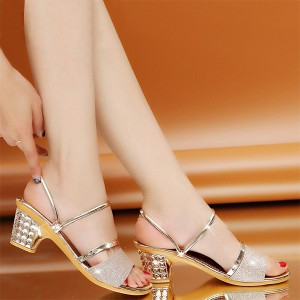 Glittery Square Heel Party Wear Sandals - Golden