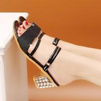 Glittery Thick Bottom Formal Wear Heels - White