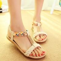 Crystal Decorative Thick Bottom Slip Over Sandals - Beige