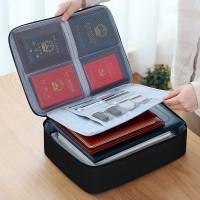 Zipper Closure Multi Purpose Passport And Diary Stationery Bags - Black