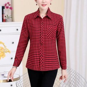 Button Closure Shirt Collar Full Sleeves Blouse Shirt - Red