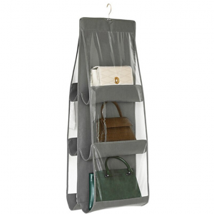 Two Sided Easy Hanging Handbags Canvas Storage Hanger - Gray