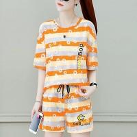 Stripes Printed Floral Round Neck Elegant Two Pieces Suit - Orange