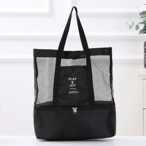 Canvas Strap Two Side Zipper Closure Traveller Shoulder Bags - Black