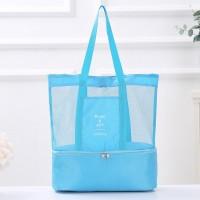 Canvas Strap Two Side Zipper Closure Traveller Shoulder Bags - Blue
