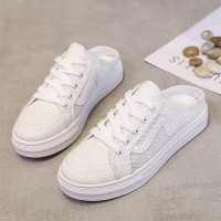 Mule Style Lace Closure Mule Sneakers - White