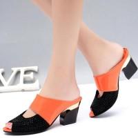 Square Sandal Notched Mule Style Decorative Heels - Orange