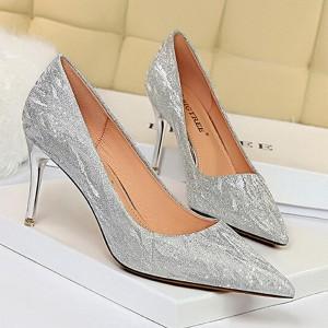 Pointed Party Wear Cocktail Wear Spike Heels - Silver