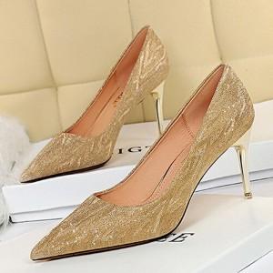 Pointed Party Wear Cocktail Wear Spike Heels - Golden