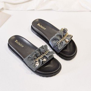 Canvas Chain Patched Flat Wear Slippers - Black