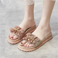 Canvas Chain Patched Flat Wear Slippers - Khaki