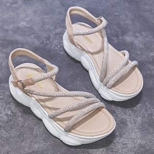 Buckle Strap Cross Strap Thick Sole Sandals - Khaki