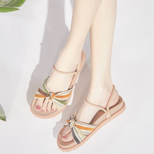 Canvas Knot Stripes Printed Flat Wear Sandals - Pink