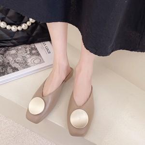 Square Toe Over Flat Wear Sandals - Khaki