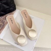 Square Toe Over Flat Wear Sandals - White