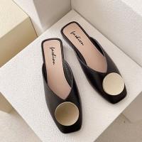 Square Toe Over Flat Wear Sandals - Black
