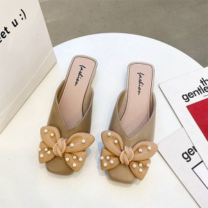 Bow Patched Pearl Decorative Flat Wear Slippers - Khaki