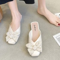 Bow Patched Pearl Decorative Flat Wear Slippers - White