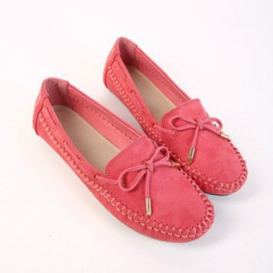 Suede Bow Patched Flat Wear Shoes - Pink