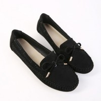 Suede Bow Patched Flat Wear Shoes - Black
