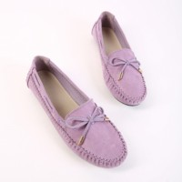 Suede Bow Patched Flat Wear Shoes - Purple