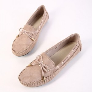 Suede Bow Patched Flat Wear Shoes - Khaki