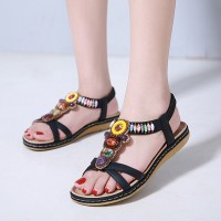 Bohemian Patched Elastic Slip Over Closure Flat Wear Sandals - Black
