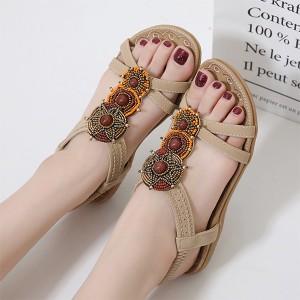 Bohemian Patched Elastic Slip Over Closure Flat Wear Sandals - Khaki