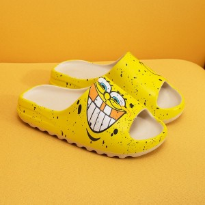 Thick Sole Plastic Open Toe Casual Slippers - Yellow