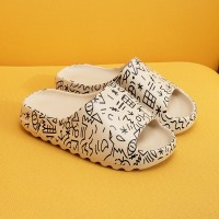 Thick Sole Plastic Open Toe Casual Slippers - White