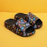 Thick Sole Plastic Open Toe Casual Slippers - Black Multicolor