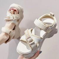 Velcro Closure Thick Bottom Casual Wear Women Sandals - Beige