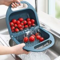 Multi Purpose Foldable Plastic Vegetable Sink Washing Bowl Basket - Blue
