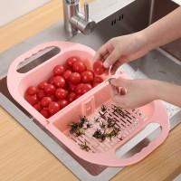 Multi Purpose Foldable Plastic Vegetable Sink Washing Bowl Basket - Pink