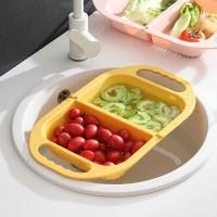 Multi Purpose Foldable Plastic Vegetable Sink Washing Bowl Basket - Yellow